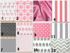 pink white and gray baby girl crib bedding.