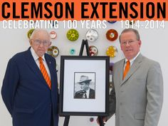 Mr. John Parris and Dr. Tom Dobbins induct Mr. Bob Bailey into the Frank A. Lever County Extension Agent Hall of Fame. Photo courtesy of: Joshua S. Kelly 2014. #ClemsonExt100