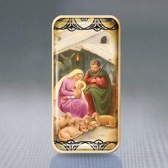 glass brooch pin nativity