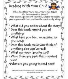 Reading With Your Child questioning sheet for families.