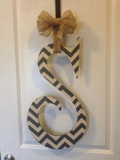 Grey Chevron Wooden Letter Door Hanger