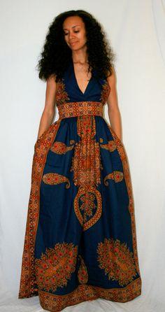 Halter African Print Maxi Dress