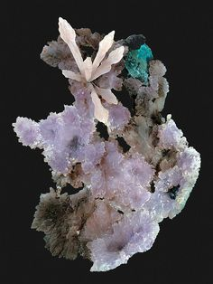 Calcite on Amethyst