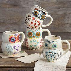 Folk Owl Mugs for the ultimate Happy Nest! #owls #Folkart
