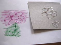 Doodle Rubbings - use hot glue to make designs on cardboard, cover with blank paper, then rub with crayons -- functional crayon use for students with low FM skills