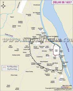 Map of Delhi in 1857