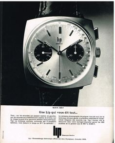 Publicité Advertising 1968 Montre LIP
