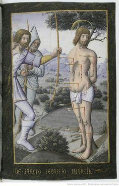 Libro de horas de Enrique IV Ms 1171 latín Gallica. Martirio de San Sebastián .