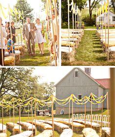 september wedding hay bales