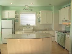 green and white kitchen.  www.hollyabston.com