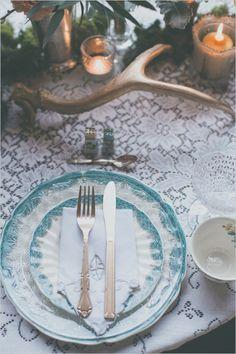 Vintage turquoise china settings. Captured By: Hazelwood Photo #weddingchicks http://www.weddingchicks.com/2014/06/18/give-the-groom-a-real-cake/