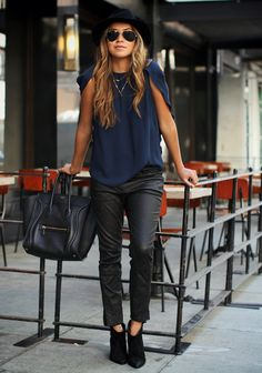 Perfect outfit black and navy ! Leather pants with dot design & super pretty navy J Brand blouse with cool sleeves. blouses, outfit, girl style, belle, navy, sincer jule, leather pants, fashion bloggers, black pants