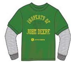 "John Deere Youth ""Property of..."" Green Long Sleeve Double Layer Tee"