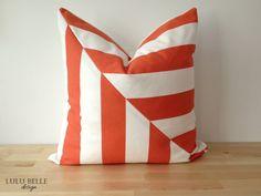 Stripe Orange Tangerine Pillow Cover by LuluBelleDesign1182, $30.00