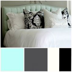 love the colors.. paired with a black wrought iron bed frame? yes please! Bedroom Color Schemes, Bedrooms Closets, Bedrooms Colors, Bedroom Colors, Bedroom Color Scheme Ideas, Colors Schemes, Master Bedrooms, Iron Beds, Bedrooms Ideas