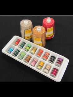 Empty ice cube tray stores M bobbins real well