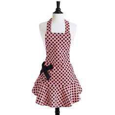 Polka Dot Apron In Pink And Black.