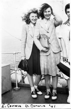 Saddle shoe sporting sisters on a ship, c.1940s. #vintage #1940s #women #fashion