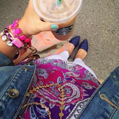 Starbucks. Jewels from Stella and Dot and Mindymaesmarket. Misschrisycharms on Instagram.