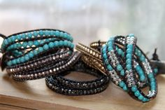 The Bracelet Wraps around the wrist 3 times the closure is a decorated Silver Metal Closure. You can wear this as a Bracelet or a Necklace!! Layer it with other bracelets.