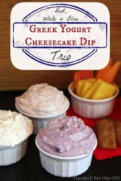 Red, White  Blue Greek Yogurt Cheesecake Dip Trio - just a couple ingredients and a few minutes to make a tasty  light sweet treat | cupcakesandkalechips.com #greekyogurt #cheesecake #dessert #dip