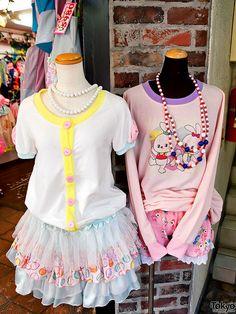 Fairy Kei outfits on display outside of the ManiaQ shop on Takeshita Dori in Harajuku.