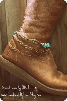 Cowgirl BOHO Boot Cuff Western boot turquoise bracelet Boot accessoey Southwestern Boot jewelry boho bride boot accessory Bohemian
