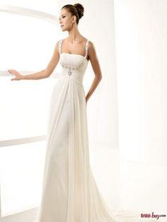 Elegant Empire Square Straps Beaded Chiffon Infomal/Casual Wedding Dresses