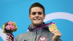 Gold medallist David Boudia of the United States poses on the podium during the medal ceremony for the men's 10m Platform Diving final