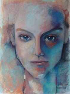 Unique custom portrait painting in mixed media by artist Kristina Laurendi havens