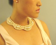 DIY pearl bow ribbon necklace