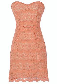 Coral Crochet Lace Dress