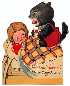 Vintage creepy kitty valentine!