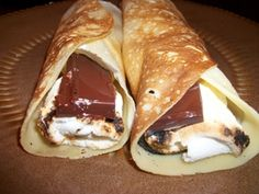 Smores Dessert Crepes with Melted Chocolate and Marshmallows