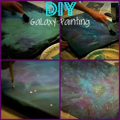 DIY galaxy painting using acrylic paints.