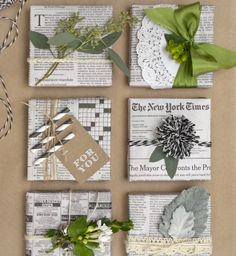 Love the use of newspaper! Up-cycle please!