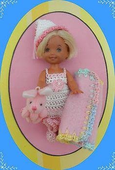 "Crochet Doll Clothes Nite Nite Bunny for 4 ½"" Kelly Same Sized Dolls | eBay rocn7roc"
