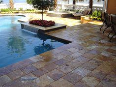 pool patio with pavers | Travertine Patios, Travertine Driveways, Travertine Pool Decks  Water ... pool idea, pool paver, poolback yard, pool pavement, pool patio, travertine pool deck, pool decks