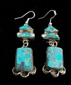 Navajo Silver and Turquoise Earrings Turquoise Signed S. *X967