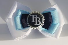 Navy Light Blue and White Baseball Inspired Hair by bowsforme, $6.99