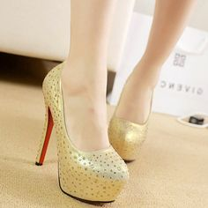 Appealing Dots Decorated Closed-toe Platform Stiletto Heels Evening Shoes