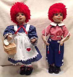 Virginia Turner Raggedy Mop Top Julie D & Raggedy Mop Top John E Dolls