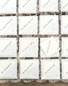 Tucked-Away: Lace handkerchiefs served as favors and sweet envelopes for calligraphed escort cards at Kate and Michael's Montana wedding.