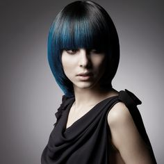 black with blue peekaboo highlights for an edgier look