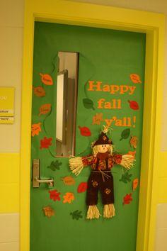 """Happy Fall Y'All"" bulletin board door display"