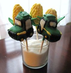 Tractor and Corn Cob Cake Pops