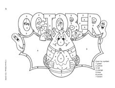 October Color by Numbers | Click through for more free ideas and activities!