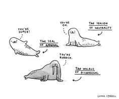 """The Seal of Approval and Friends  by Gemma Correll  Art Print / MINI (9"""" x 8"""")    $18.00"""