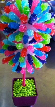 Rock candy in a Styrofoam ball for a graduation candy table.