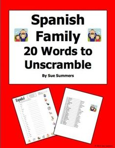Spanish Family Scrambled Words and Image IDs from Sue Summers on ...
